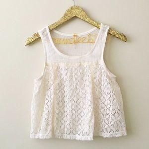 Free People Cream Lace Crop Top